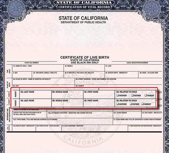 Example of California birth certificate