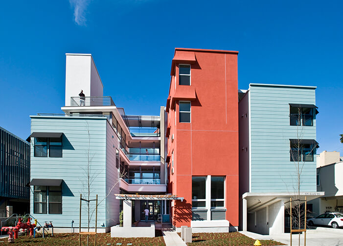 A photo of Casa Feliz, an example of well-design affordable homes in California.