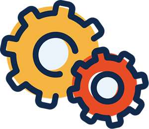 A simple black-line illustration of two cogs. The larger cog is yellow and it sits behind and slightly higher than a smaller red cog. The colors are out of register (go outside the lines). The concept is creating efficiency.
