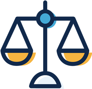 A simple black-line illustration of a set of weighing scales. The bowls are yellow, and the fulcrum is a blue circle. The colors are out of register (go outside the lines). The concept is promoting fairness.