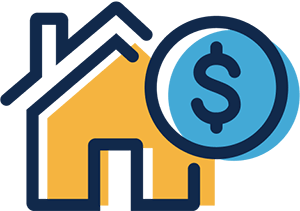 A simple black-line illustration of a house with a pointed roof. The house is yellow. In the foreground, and slightly overlapping the house, is a blue circle with a dollar sign in the center. The colors are out of register (go outside the lines). The concept is rental subsidy.