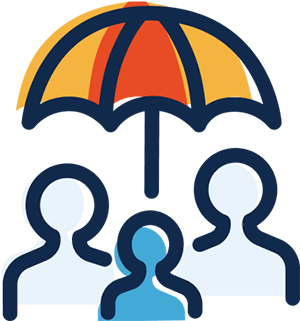 A simple black-line illustration of three people shapes (heads and shoulders) beneath an umbrella. The people are different shades of blue. The umbrella has a red panel in the center with a yellow panel each side. The colors are out of register (go outside the lines). The concept is to protect people.