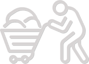 A white line drawing, on a blue background, of a human figure walking to the left pushing a shopping cart filled with belongings.